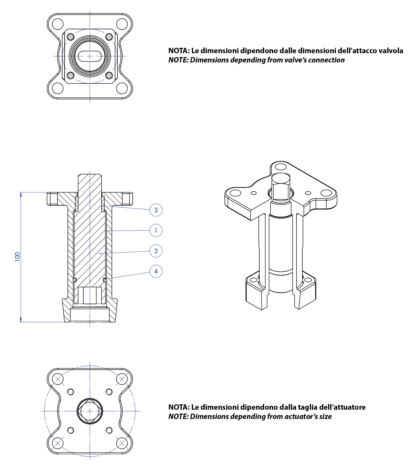 Thor分体式不锈钢球阀 ANSI 150-300 小通径 - 附件 - CASTING STEM EXTENSION FOR ACTUATORS